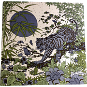 Vintage 1970's Rare Jim Thompson Tiger among Butterflies Printed Thai Silk Panel Art Picture