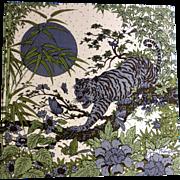 Vintage 1970's Rare Jim Thompson Tiger among Butterflies Printed Thai Silk Panel Art Picture