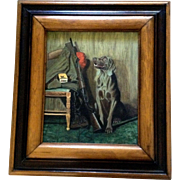 Jo Redden, Bird Hunting Weimaraner Dog Scene for Man Cave, Acrylic Painting on board Signed by Artist
