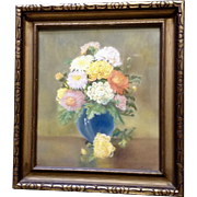 Breva Johnson (1909-2004) Mums Floral Still Life Pastel Drawing Works on Paper Signed by Arkansas Artist