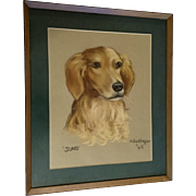 Golden Retriever Dog Portrait Pastel Painting Works on Paper Signed by Artist 1965
