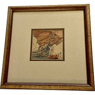 Chinese Junk and Skiff Small Nautical Watercolor Painting Monogrammed by Artist
