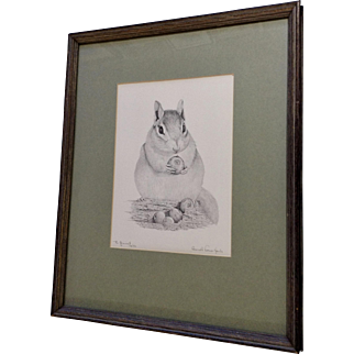 Fat Chipmunk Hiding Blueberries in a Log Black and White Limited Edition Print 'The Gourmet'