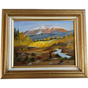 E White, Naive Mountain Landscape Oil painting on Board Signed by Artist