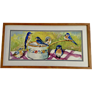 M E Esquibel, Blue Birds At Watering Ladle Watercolor Painting Signed by Artist