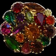 Vintage Autumn Sparkle Glass Rhinestone Pin Costume Jewelry