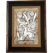 Ethnic Folk Art Aztec Peruvian Amate Bark Paper Painting with a Deer and Flowers Vintage Picture
