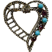 Silver-tone Heart with Purple Rhinestones Faux Turquoise Garry's Costume Jewelry Pin 1980's