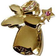 Adorable Christmas Angel Gold-tone Pink Sparkle Rhinestone Brooch Pin