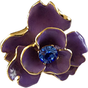 Beautiful KJL Purple Enamel Flower in Gold Tone Setting with Blue Rhinestone Center Kenneth J. Lane, Costume Jewelry Pin 2""