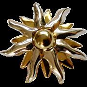 "Silver-tone and Gold-tone Sunburst Pin Costume Jewelry 1-1/2"""
