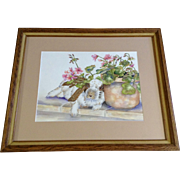 Lounging Bunny Rabbit Next to the Flowerpot, Watercolor Painting Monogrammed by Artist