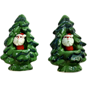 Vintage Holt Howard Christmas Trees with Santa Claus Salt and Pepper Shakers Ceramic S & P Figurines