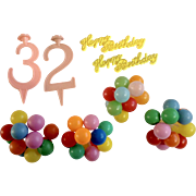 Vintage Cake Decoration Toppers Balloons Happy Birthday and Number 2 & 3 Plastic