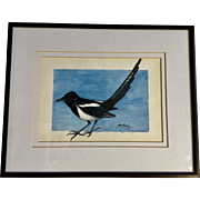 Tom Boone, American Black-billed Magpie Bird Watercolor Painting
