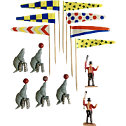 Vintage Cake Decoration Circus Toppers Flags, Seals & Ring Master Man Plastic Animals