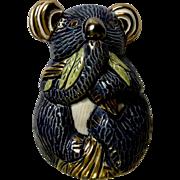 Koala Figurine, De Rosa Rinconada AR744 S.A. Blue Koala Hand Painted Clay Pottery Retired