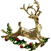 A Joyful Rudolph The Red Nosed Reindeer Jumping Over Holly Branch Brooch Pin Christmas Costume Jewelry 1-7/8""