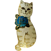 """White Kitty Cat with Blue Rose Enamel Brooch Pin Costume Jewelry 2"""""""