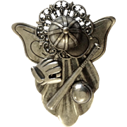 "Baseball Angle Silver Tone Brooch Pin Costume Jewelry 2"""