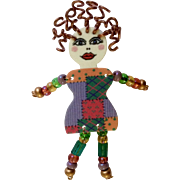 Crazy Lady Beaded Brooch Pin Costume Jewelry
