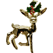 """Gerry's Christmas Deer with Holly Brooch Pin 1-1/2"""""""