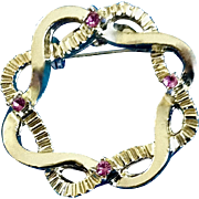 """Gold Tone Wreath with Pink rhinestones Brooch Pin Costume Jewelry 1-1/4"""""""