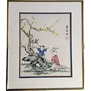 Adorable Children Playing by a Yellow Blossom Tree Watercolor Painting Signed by Artist