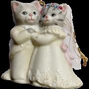 "1987 Schmid Kitty Cucumber, Albert & Kitty Bride & Groom  2-3/4"" Sri Lanka Porcelain Cats Ornament Figurine Discontinued"