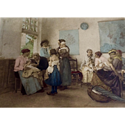 European Pediatrician Doctors Office, Antique Hand Tinted Stone Lithograph Aquatint