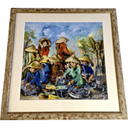 Colorful Vietnam Marketplace Oil Painting Signed by Artist