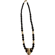Beautiful Napier Black and White Faux Pearl Gold-tone Necklace 24""