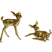 Vintage Freeman McFarlin Hagen Renaker Gold Fawn Deer 9 1/2 inches & 5 1/2 inches Tall # 861 & # 862