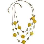 "Designer Kenneth Cole New York Jewelry Three Strand Necklace Yellow, Silver-tone and Crystal Beads 20-1/2"" Costume Jewelry"