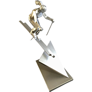 Jeannine Young, Bronze Sculpture, First Tracks Rocky Mountain Snow Skiing, Limited Edition 1/25