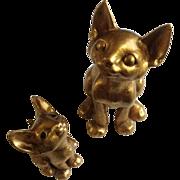 Golden Kitty and Kitten Cat Figurines Anthony Freeman McFarlin California USA Pottery