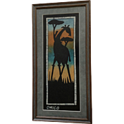 Silhouette African Sunset Giraffe Safari Batik, Painting on Fabric Signed by Artist Ohico