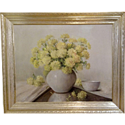 Leonard Woodruff  (1880 - 1970) Yellow Mums Oil painting on Canvas Still Life Floral Signed by Listed Artist