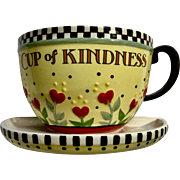 Mary Engelbreit Cup of Kindness Flower Teacup Wall Pocket Pottery Figurine