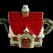 ME Mary Engelbreit Christmas House Teapot Ceramic Pottery Retired