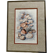 Lukovie, Still Life Seashells on the Beach, Watercolor Painting Signed by Artist