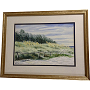 Robalino, Brush At the Edge of the Beach, Watercolor Landscape Painting Signed by Florida Artist