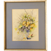Florence A. Kroger (1897 - 1980), Painting, Still Life Floral Vase With Small Red Bird, Signed by Listed Artist, Watercolor Works on Paper