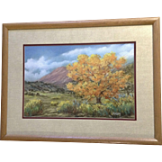 Dorothy Young, Golden Tree in Rio Grande Valley Landscape, 'Queen of the Valley' Oil Pastel Painting Signed By Colorado Springs Artist