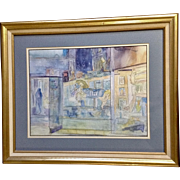Carousel Horse Window Shopping at Night Cityscape Watercolor Painting Illegibly Signed By Artist