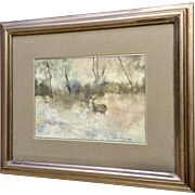 Native Deer in a Autumn Forest Watercolor Signed By Colorado Artist