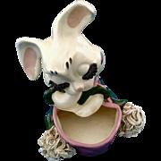 Rare Retro Spaghetti Big Eyelash Bunny Rabbit Anthropomorphic Planter Head Vase Porcelain Figurine