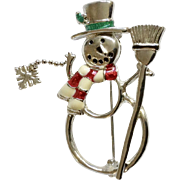 Adorable Silver-tone Snowman with Cascading Snowflake Christmas Pin