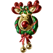 Rudolph the Red Nosed Reindeer Shiny Gold-tone Green & Red Christmas Pin with Two Jingle Bells