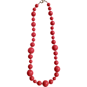 """Large Hot Pink Plastic Beads Necklace Costume Jewelry 25-1/2"""""""